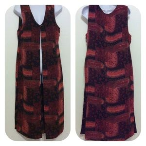 Coldwater Creek | Tunic Vest Duster Red Black 12P
